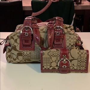 Coach handbag with matching wallet